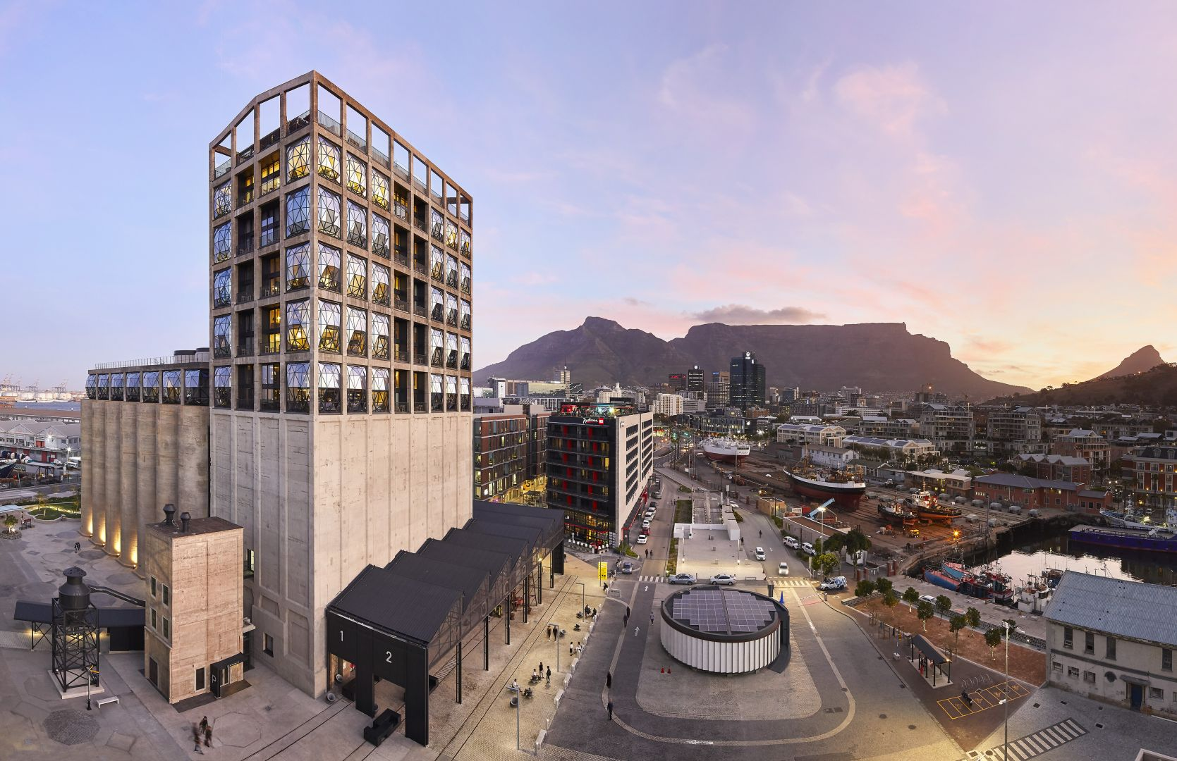 Zeitz Mocaa with Table Mountain in the distance.