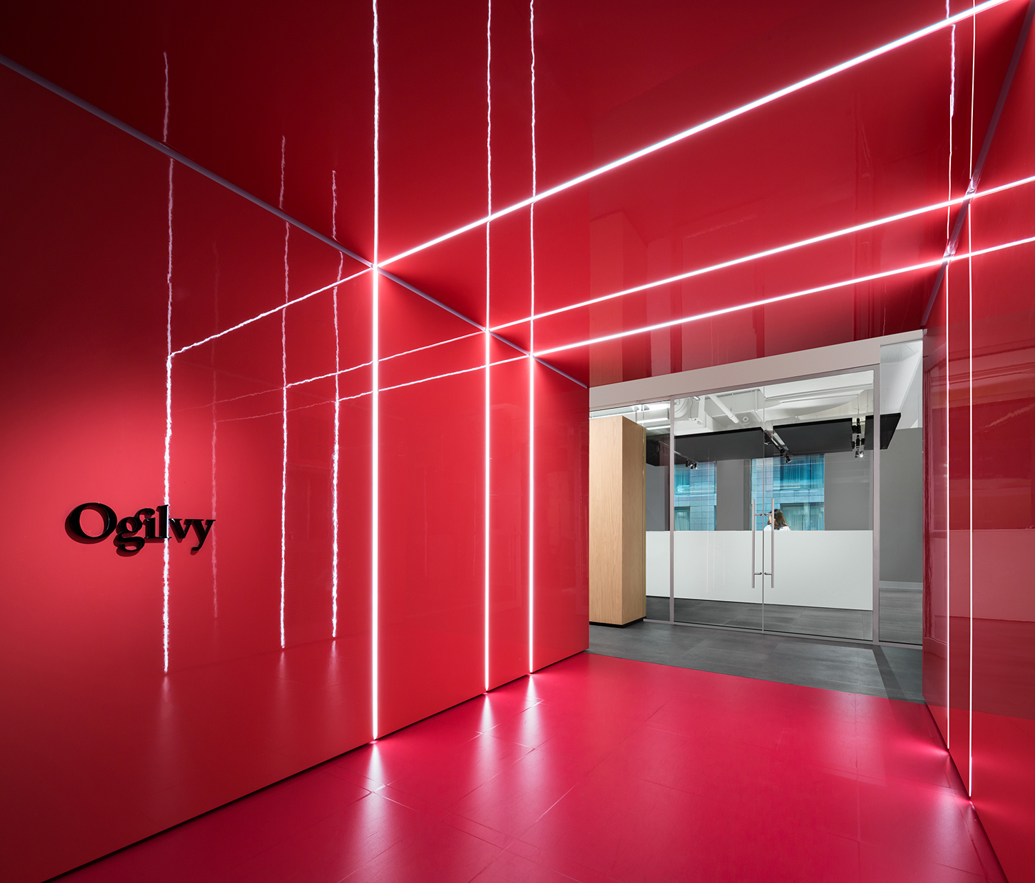 Ogilvy Montreal's red entrance space