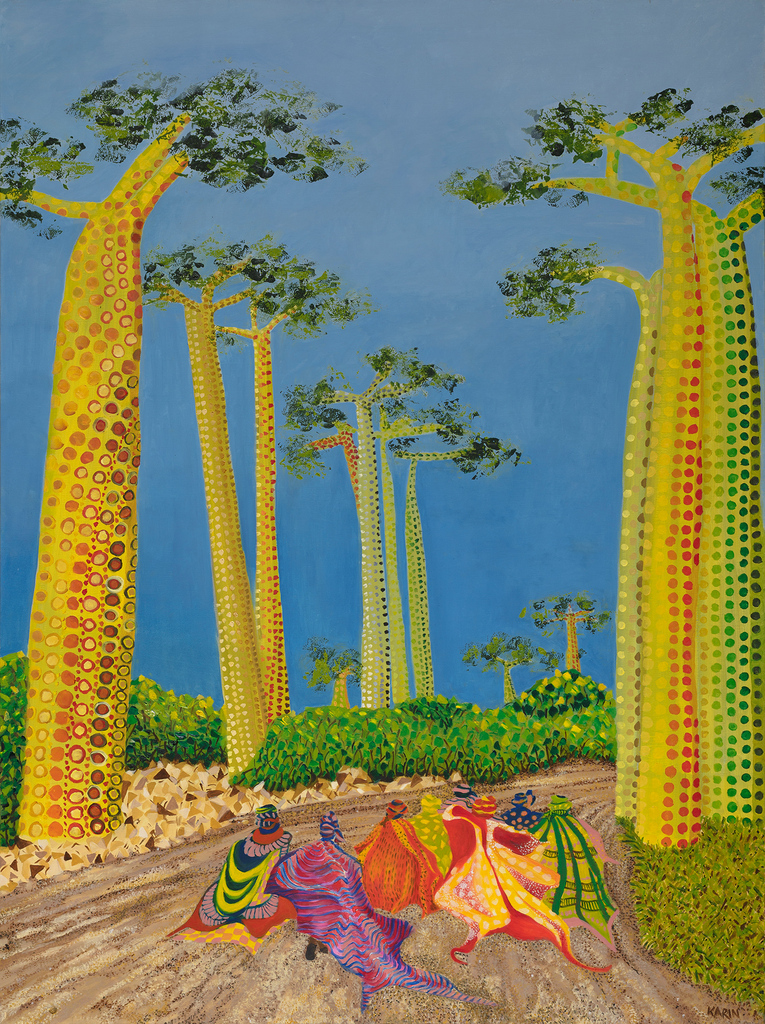 Karin Mathebula, Under the Baobabs, 2020. Oil on canvas. 122 x 92 cm. Courtesy of Absa Gallery