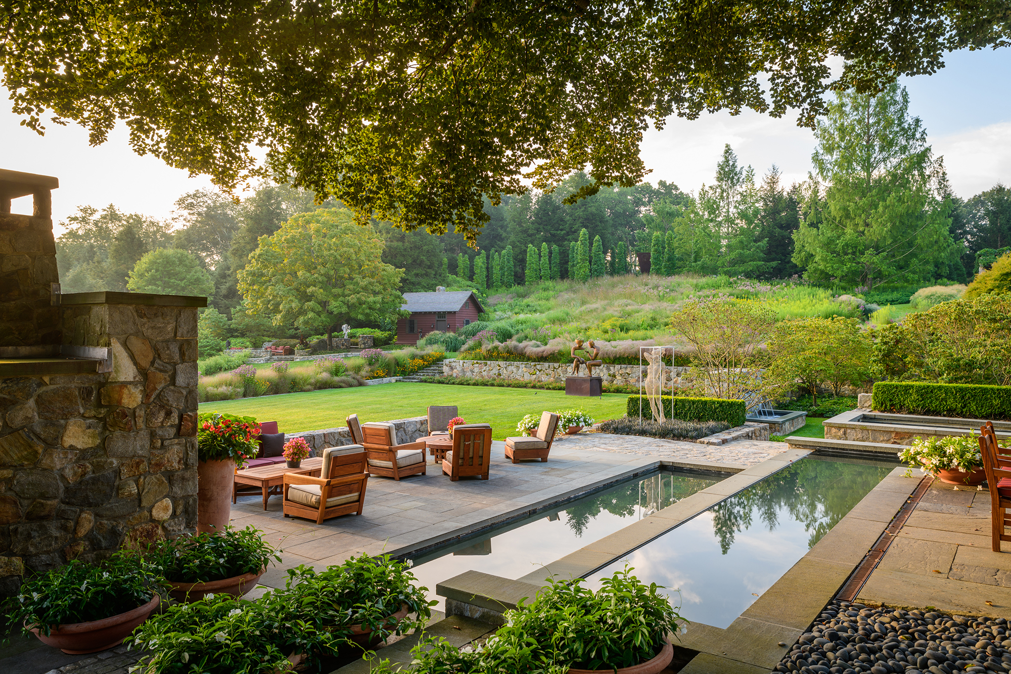 The Redding Garden in Fairfield is a poem of delicate colors and accents of Bluestone that was sourced from a quarry within 75 miles from the site.