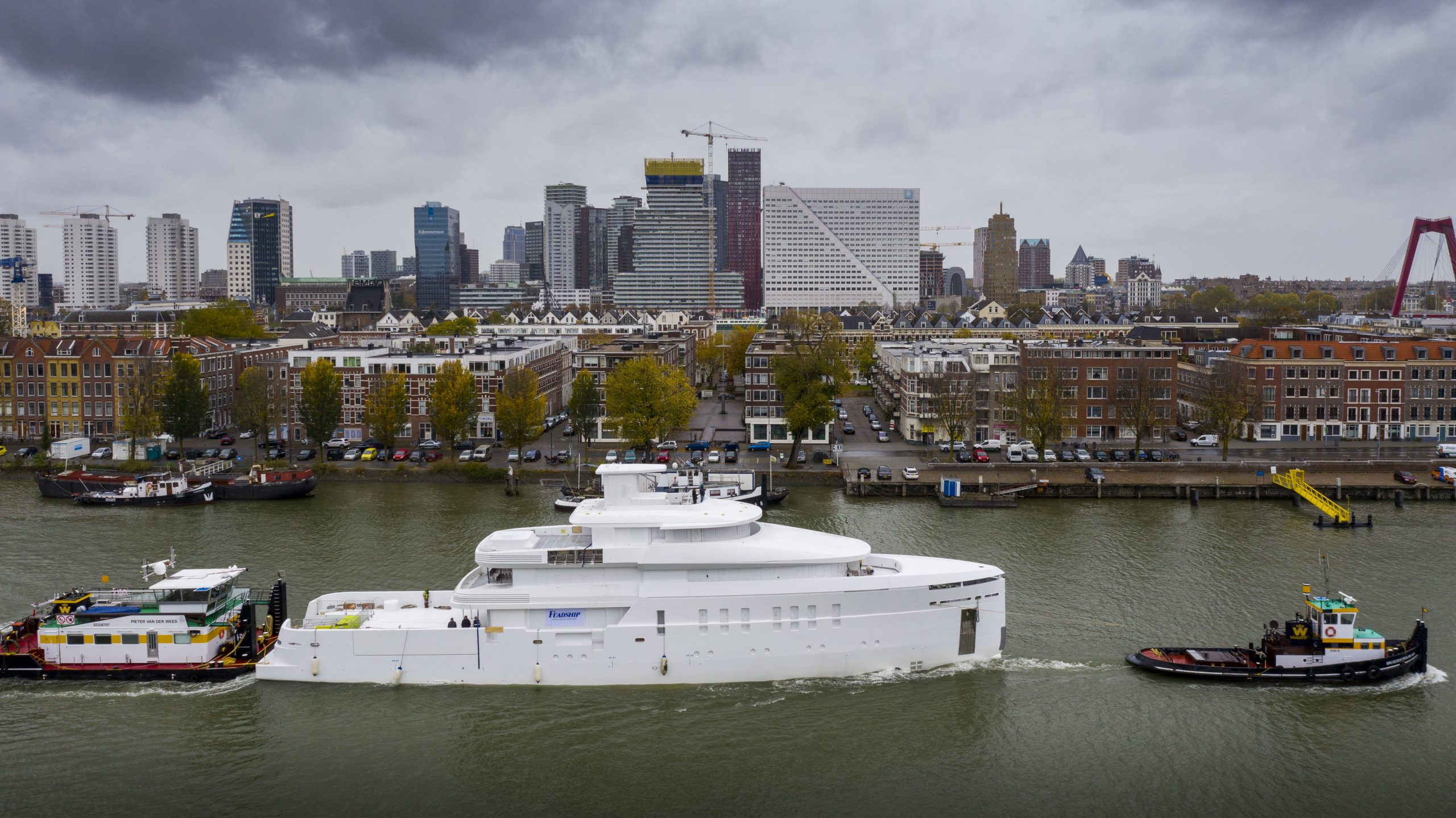 Feadship Project 708 in Rotterdam harbour.
