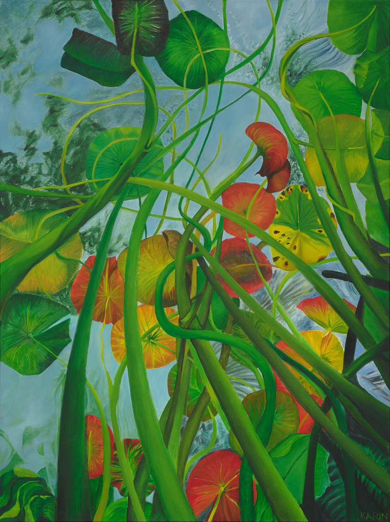 Karin Mathebula, Lillies from below, 2020. Oil on canvas. 102 x 77 cm. Courtesy of Absa Gallery
