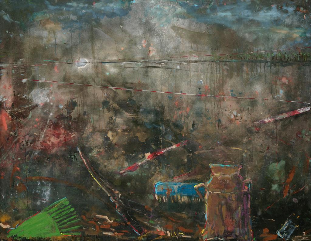 Asanda Kupa, Izixhobo Zokulungisa Zasetyenziswa Uku Chita, 2021. Acrylic on canvas. 135 x 175 cm. Courtesy of Absa Gallery