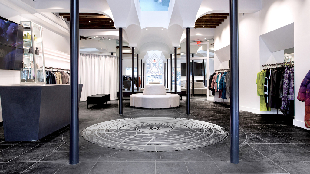 The focal point of the Daily Paper NYC lobby area is the circular stone mosaic in the centre of the floor.