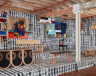 Basha Uhuru Creative Uprising Festival - Woven lights and bench by Siviwe Jali, Bench by Anele Vezi, Mirror and server by Sipho Twala, Sangu light and bench by Katlego Tshuma